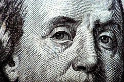 Macro photograph a close up, detail of 100 dollar bill Stock Photo