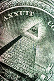 Macro photograph a close up, detail of 1 dollar bill Stock Image