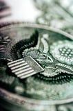 Macro photograph a close up, detail of 1 dollar bill Royalty Free Stock Photos