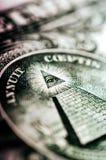 Macro photograph a close up, detail of 1 dollar bill.  Stock Photos