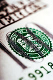 Macro photograph a close up, detail of 100 dollar bill Royalty Free Stock Photography