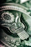 Macro photograph a close up, detail of 1 dollar bill Royalty Free Stock Photo