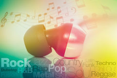 Macro photograph of earphones. Music genres with typography and Stock Photo
