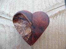 Macro Photograph of Handcrafted Wooden Heart Royalty Free Stock Image