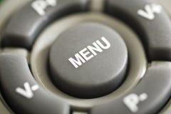 Macro Photograph of remote control's  MENU button Stock Photos
