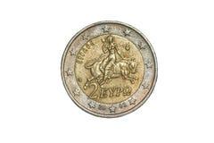 Macro photographie d'une pièce de monnaie d'euro de la Grèce 2 Photo stock
