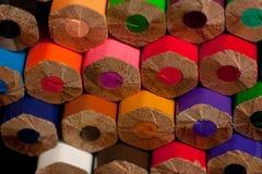 Macro photographie des crayons colorés photo arrière des crayons Images libres de droits