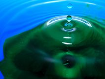 Macro photography of blue green water drop / ink drops splash and ripples, wet, conceptual for environmental, conservation, droug. Macro photography of a blue stock images