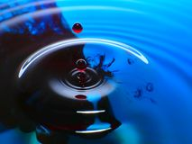 Macro photography, blue and red water drop / ink drops splash and ripples, wet, conceptual art, environmental, conservation. Macro photography blue and red royalty free stock photography
