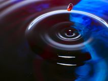 Macro photography, blue and red water drop / ink drops splash and ripples, wet, conceptual art, environmental, conservation. Macro photography blue and red royalty free stock photo