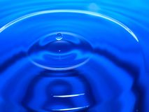 Macro photography of a blue water drop / ink drops splash and ripples, wet, conceptual for environmental, conservation, droug. Ht, artistic, for website banners stock images