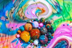 Macro photography of colorful bubbles LXXIV stock image