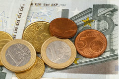 Macro photography of euro money and coins Royalty Free Stock Photos