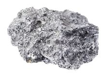 Raw Graphite stone on white. Macro photography of natural mineral from geological collection - raw Graphite stone on white background stock photography