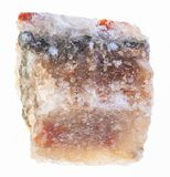 Raw halite (rock salt) stone on white. Macro photography of natural mineral from geological collection - raw halite (rock salt) stone on white background stock images