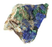 Rough Azurite and Malachite on stone on white. Macro photography of natural mineral from geological collection - rough Azurite and Malachite crystals on stone on royalty free stock photography