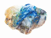 Tennantite, Tyrolite, Azurite on raw quartz. Macro photography of natural mineral from geological collection - tennantite crystal, green Tyrolite and blue royalty free stock photography