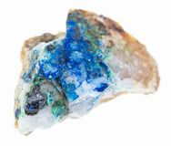 Tennantite, Tyrolite, Azurite on rough quartz. Macro photography of natural mineral from geological collection - tennantite crystal, green Tyrolite and blue stock image