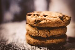 Macro Photography of Pile of 3 Cookie Stock Images