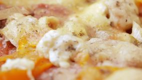 Macro photography of pizza with different types of cheese and tomatoes. Moving camera stock footage