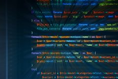 Macro php code with rays stock illustration