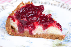 Macro picture of cherry cheesecake Stock Images