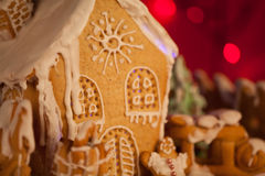 Macro Picture Of Gingerbread House Royalty Free Stock Photos
