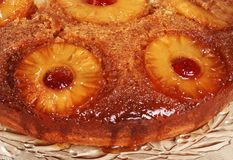 Macro pineapple upside down cake Royalty Free Stock Photo
