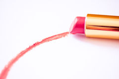 Macro of pink lipgloss stroke on white Royalty Free Stock Image