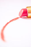 Macro of pink lipgloss stroke on white Stock Images