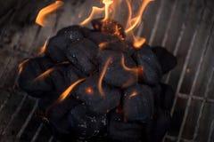 Macro plan rapproché des flammes sur des charbons de bois dans le puits de barbecue Photo libre de droits