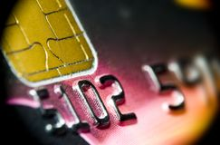 Macro of plastic credit or debit card Royalty Free Stock Photo