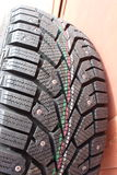 Macro pneus d'hiver de voiture de tir Photo libre de droits