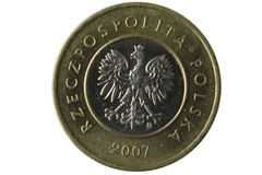 Macro of Polish 2 zloty coin. With eagle emblem isolated on white, clipping path included Royalty Free Stock Images