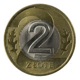 Macro of Polish 2 zloty coin. Isolated on white, clipping path included Stock Photo