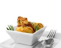 Macro pommes de terre de rôti Images stock