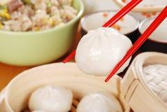 Macro pork dumpling Royalty Free Stock Images
