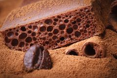 Macro porous chocolate with cocoa powder Stock Photo