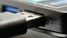 Macro port USB 4k d'ordinateur portable banque de vidéos