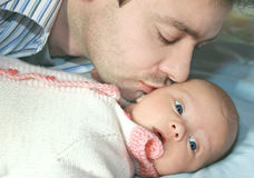 Macro portrait of father and baby royalty free stock photos