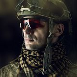 Macro portrait of handsome military man Royalty Free Stock Photography