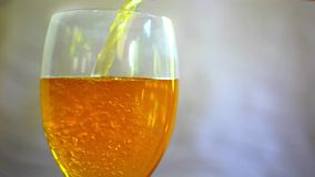 Macro pouring soda into a glass. Real video Royalty Free Stock Images