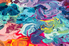Macro próximo acima da pintura de óleo diferente da cor acrílico colorido Conceito da arte moderna Imagens de Stock