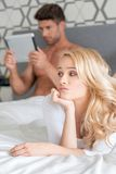 Macro Pretty Couple Partner on Bed Fashion Shoot Royalty Free Stock Image