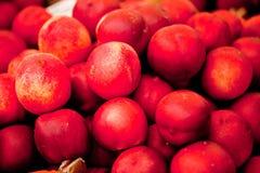 Macro primo piano di rosso arancio delle pesche fresche delle albicocche sul mercato Fotografie Stock