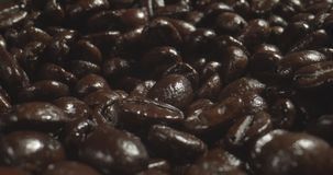 Macro Probe Shot of Dark Coffee Beans.