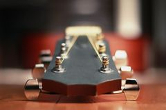 Macro of a professional Acoustic Guitar stock image