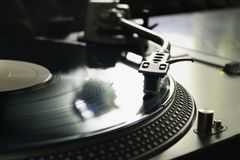 Macro of a professional DJ record player. Concept: Music, DJ, hobby, passion royalty free stock photography