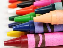 Macro profile shot of colorful crayons Royalty Free Stock Images