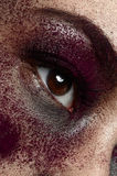 Macro purple Makeup. On beautiful Eye royalty free stock photo